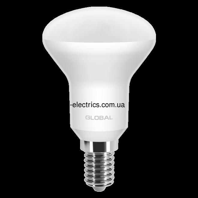 LED лампа GLOBAL R50 5W яскраве світло 220V E14  - 1