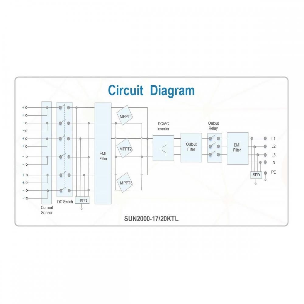 Мережевий інвертор Huawei SUN2000-17KTL (17 кВт)  - 1
